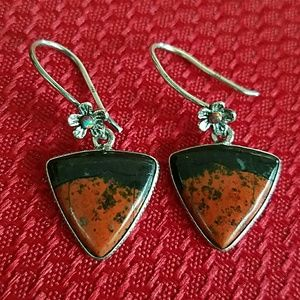 Bloodstone Opal Dangle Earrings Sterling Silver
